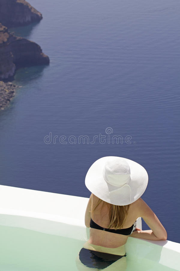 Woman in greece royalty free stock photos