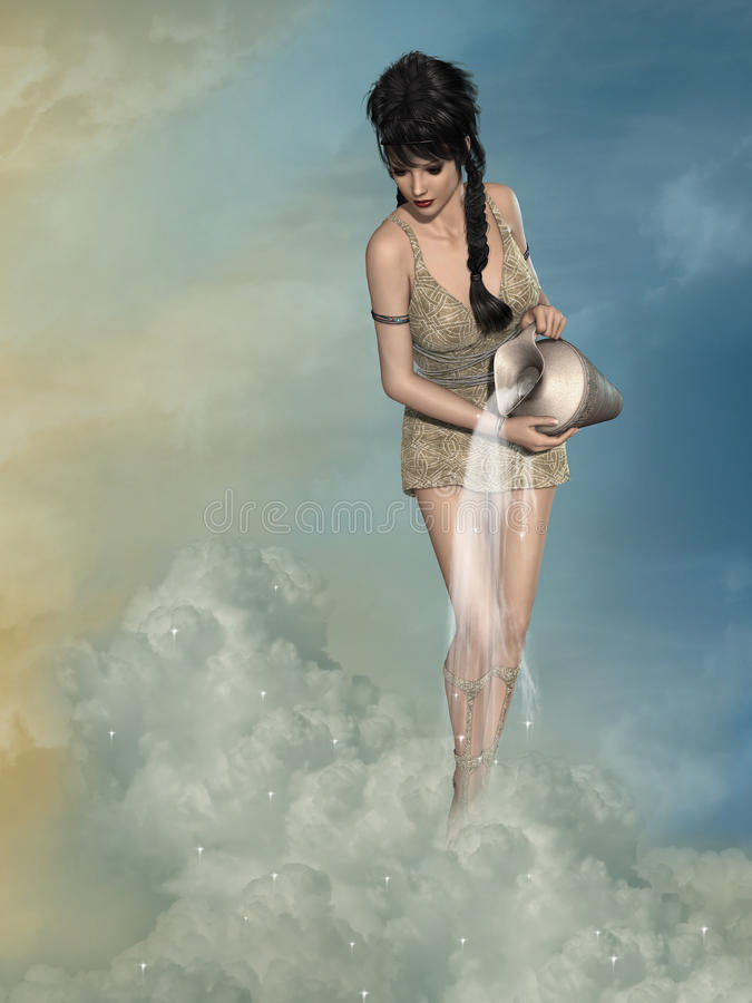Woman greek. With a vase in the sky stock illustration