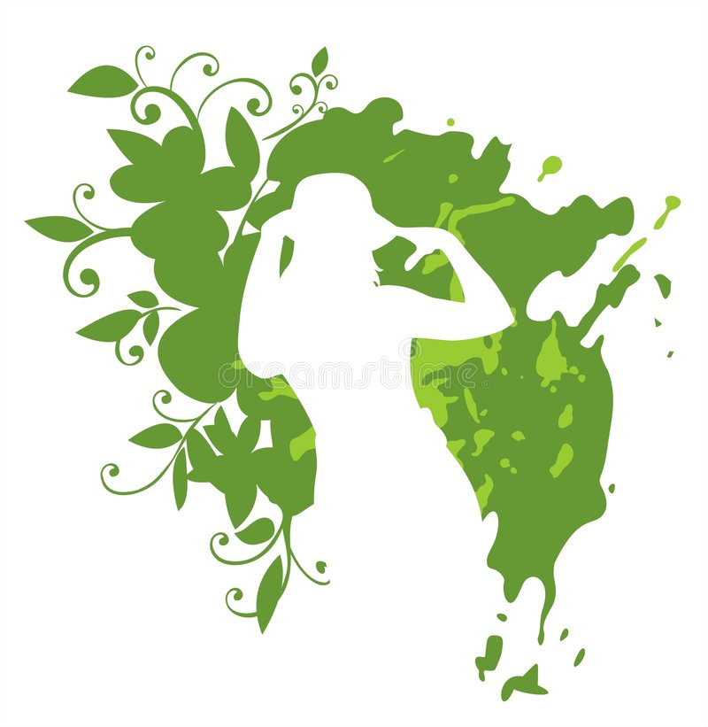 Woman on a green background stock illustration