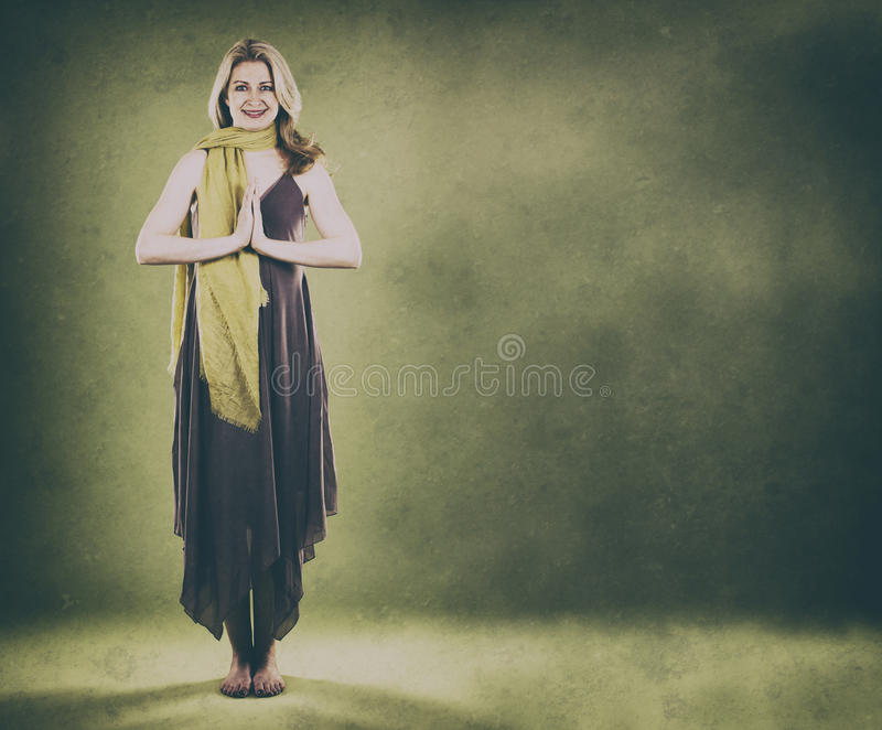 Woman on green royalty free stock images