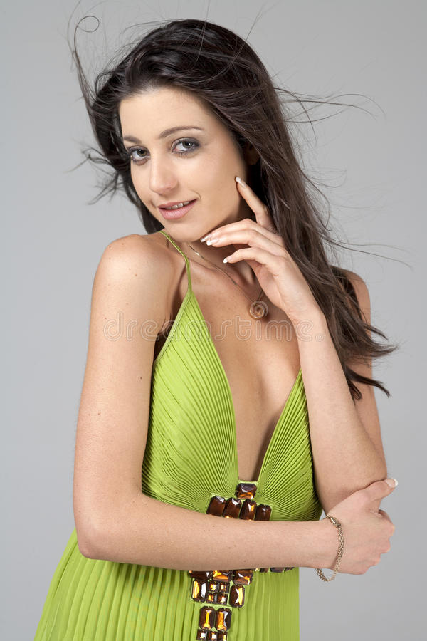 Download Woman in green dress stock photo. Image of woman, evening - 24619492