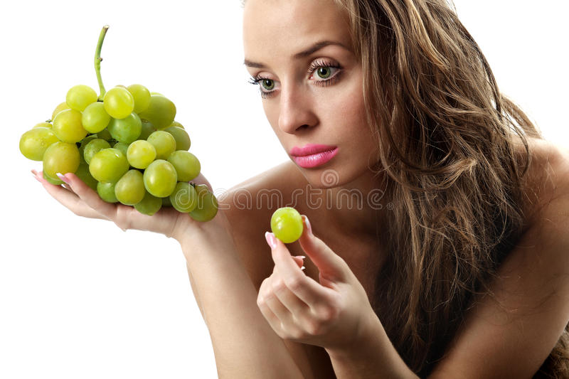 Woman With Green Grape Stock Images