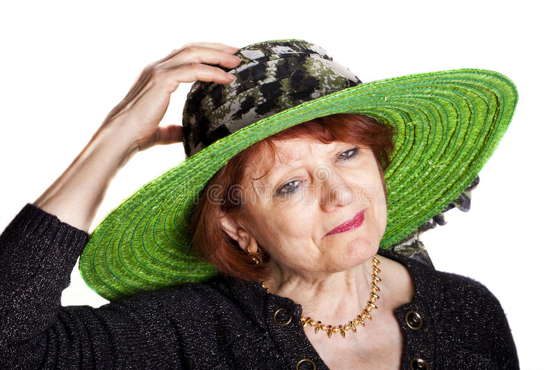 Download Woman With Green Hat stock image. Image of pretty, senior - 22612945