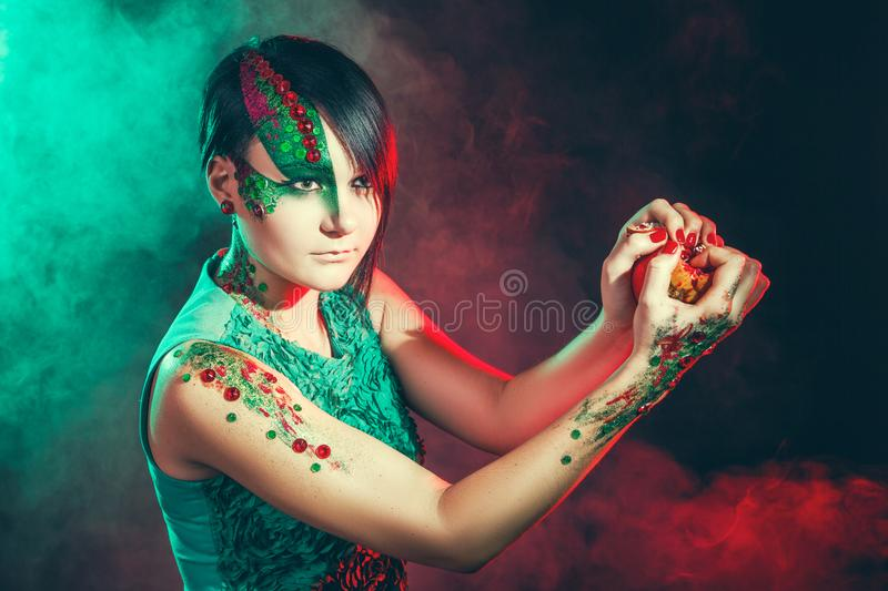 Woman green make up royalty free stock photo