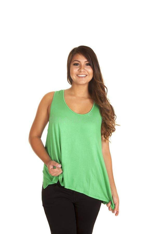 Woman green plain tank pulling stock image
