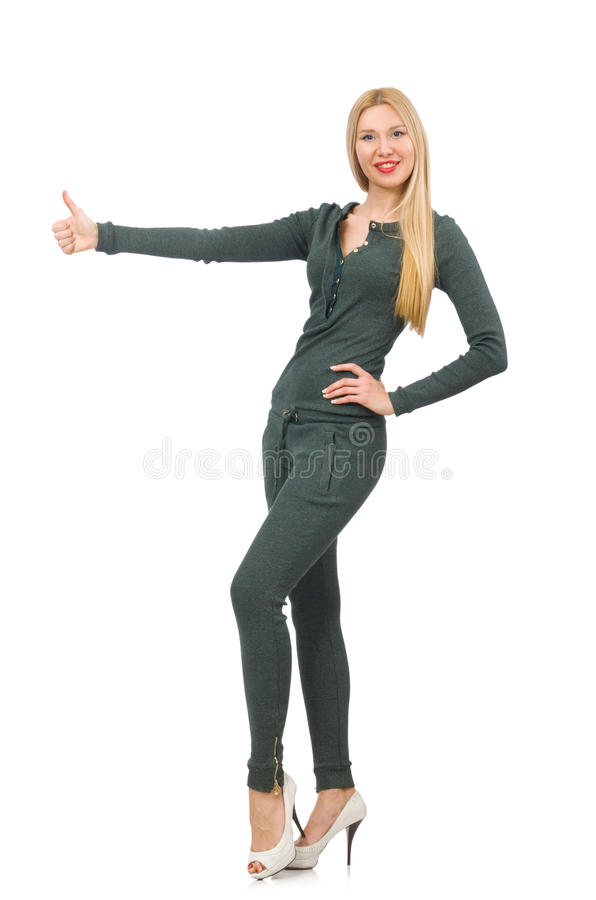 The woman in green suit on white. Woman in green suit on white royalty free stock images