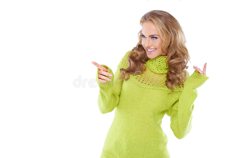 Woman In Green Warm Sweater And White Glasses Stock Photos