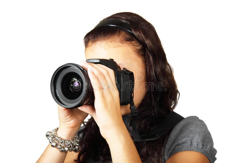 Woman In Grey Shirt Taking Picture With Dslr Camera Free Public Domain Cc0 Image