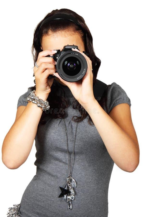 Woman In Grey T-shirt Using Black Dslr Camera Free Public Domain Cc0 Image
