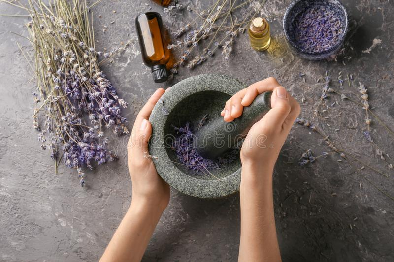 Woman grinding lavender flowers in mortar, top view stock photography