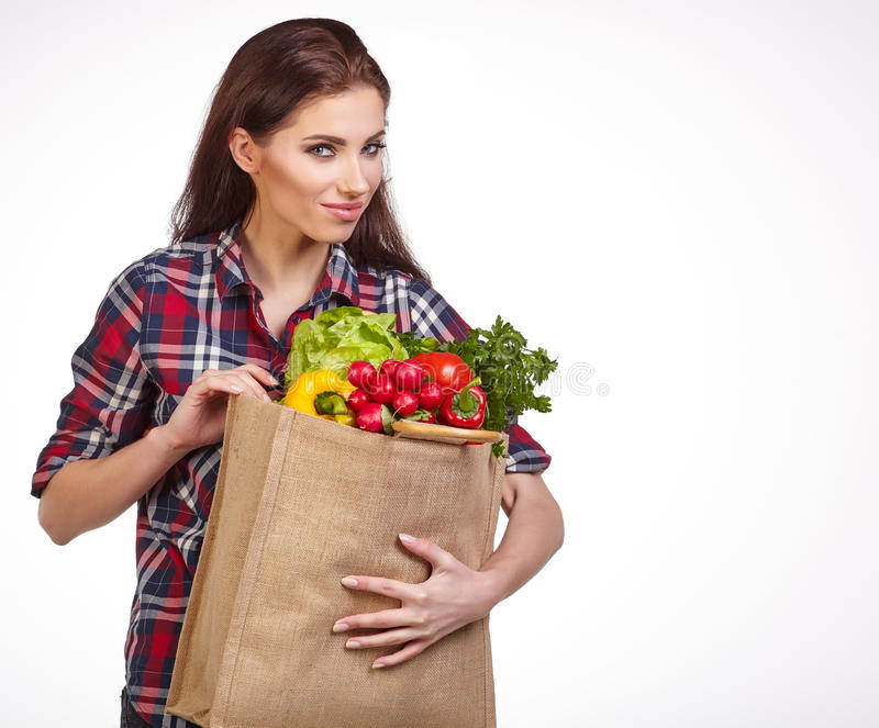 Download Woman With Groceries Shopping Bag Full Of Healthy Vegetables Smi Stock Image - Image of organic, beauty: 66244173