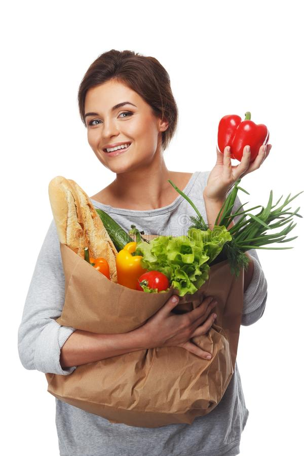 Download Woman with grocery bag stock photo. Image of eating, bread - 37776442