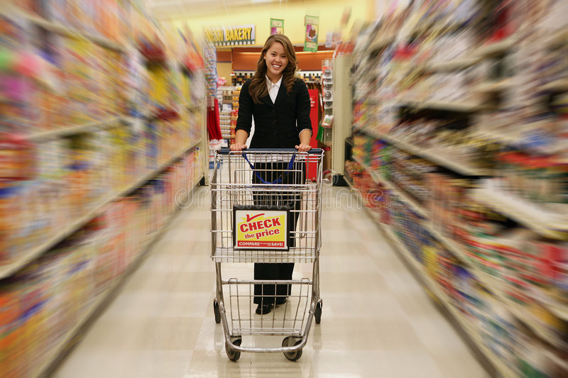 Woman Grocery Shopping royalty free stock image