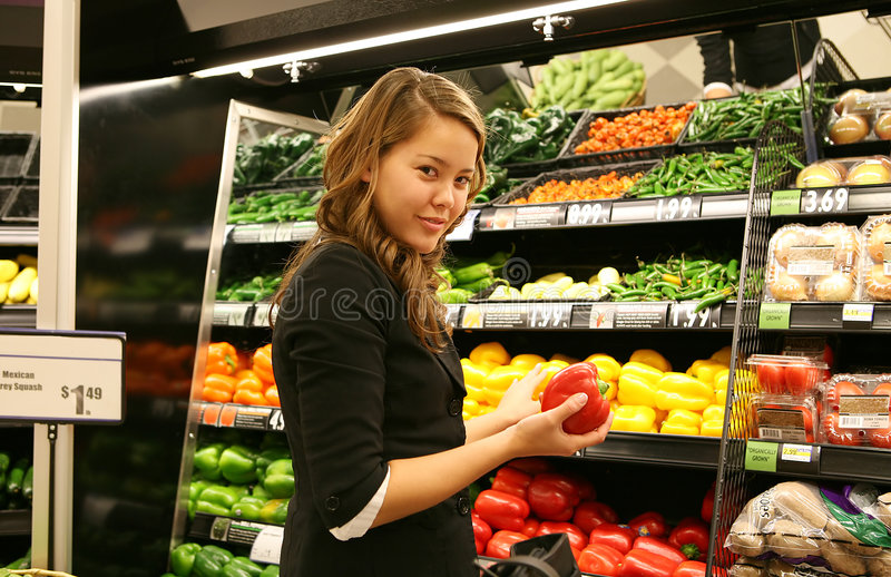 Woman Grocery Shopping royalty free stock images