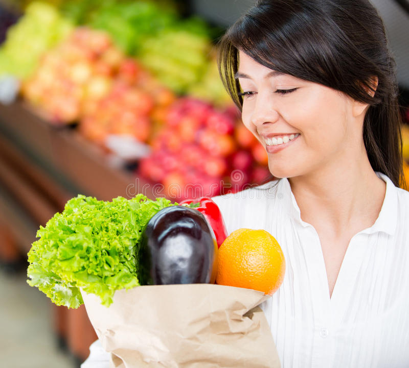 Download Woman grocery shopping stock image. Image of customers - 28015731