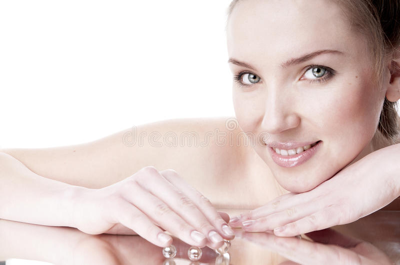 Woman with groomed clean skin. stock image
