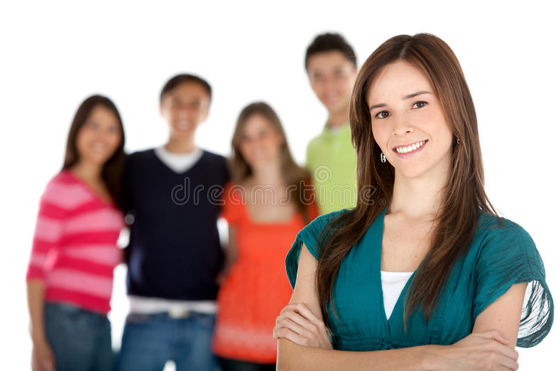 Download Woman with a group stock photo. Image of background, colors - 14938906