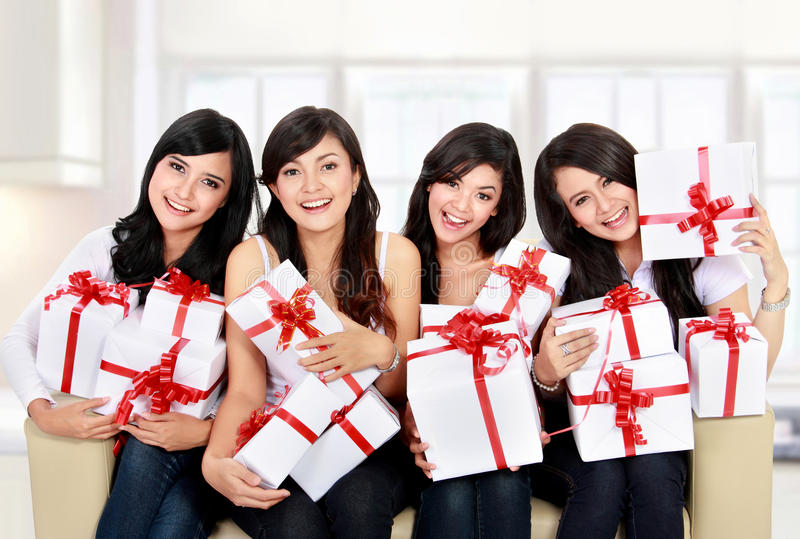 Download Woman Group With Many Gift Boxes Stock Photo - Image of happy, house: 29396546