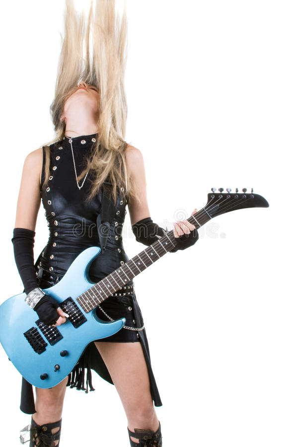 Woman with a guitar royalty free stock photo