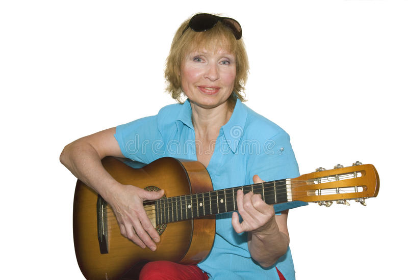 Woman with guitar stock photography