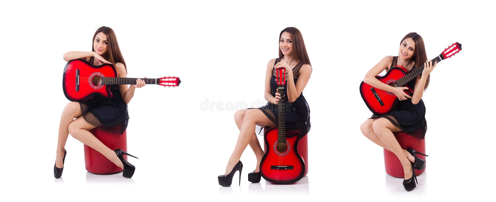 Woman guitar player isolated on the white royalty free stock images