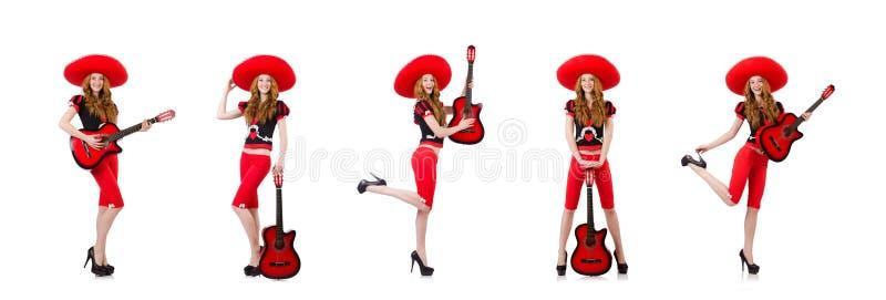 Woman guitar player with sombrero on white stock photos