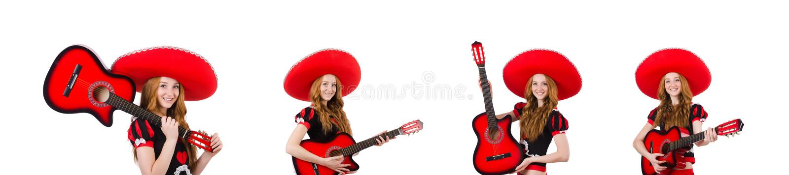 Woman guitar player with sombrero on white stock photography