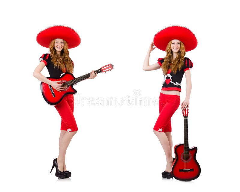 Woman guitar player with sombrero on white stock image