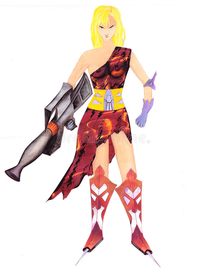 Woman with a gun. stock photo