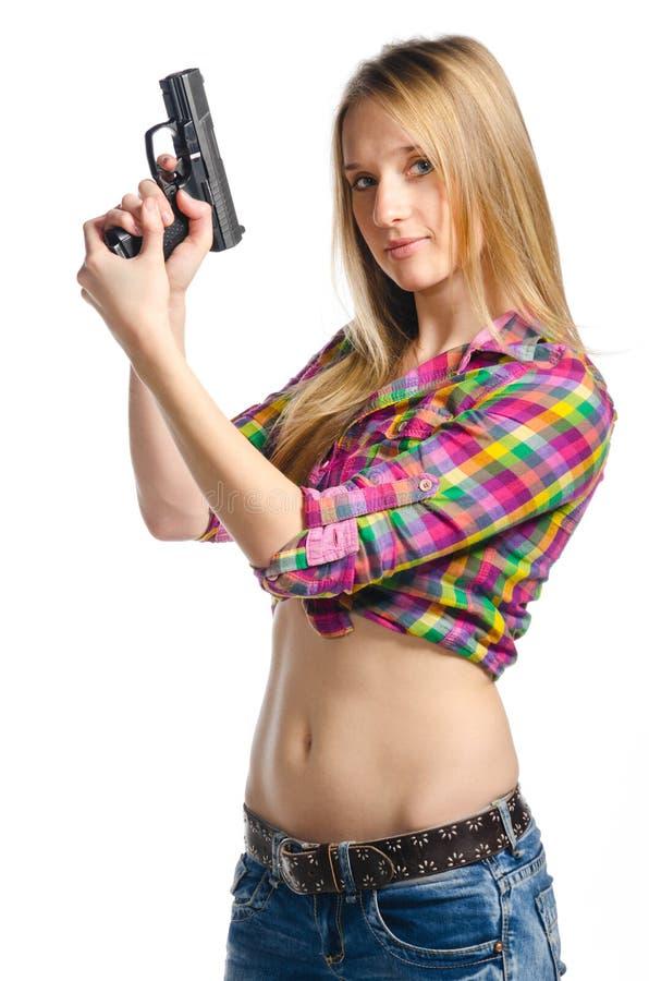 Woman With Gun Royalty Free Stock Photo