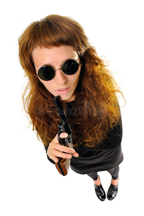 Download Woman with a gun stock photo. Image of standing, revolver - 25999652