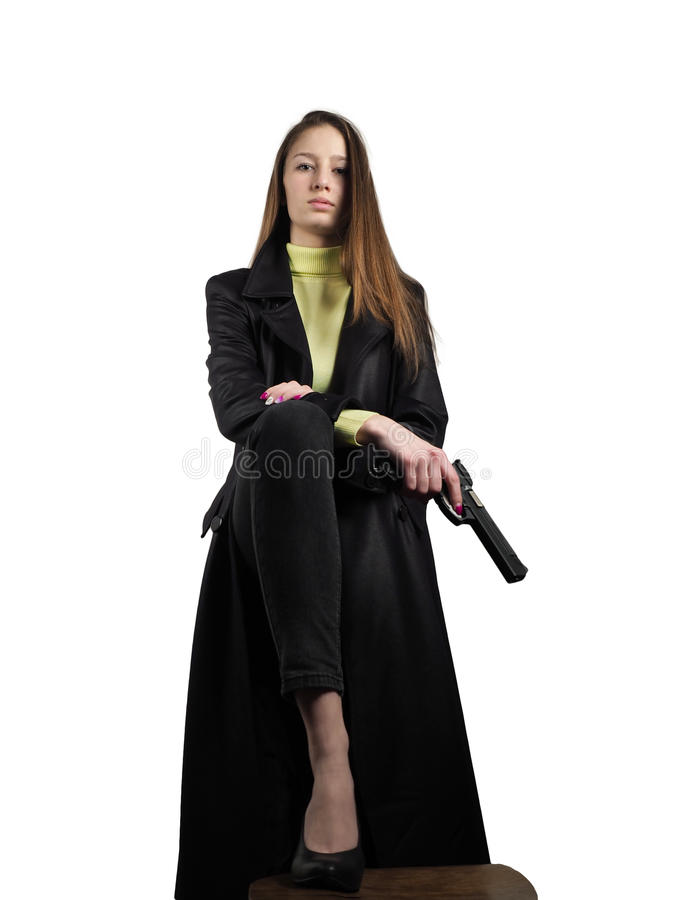 The woman with a gun royalty free stock image