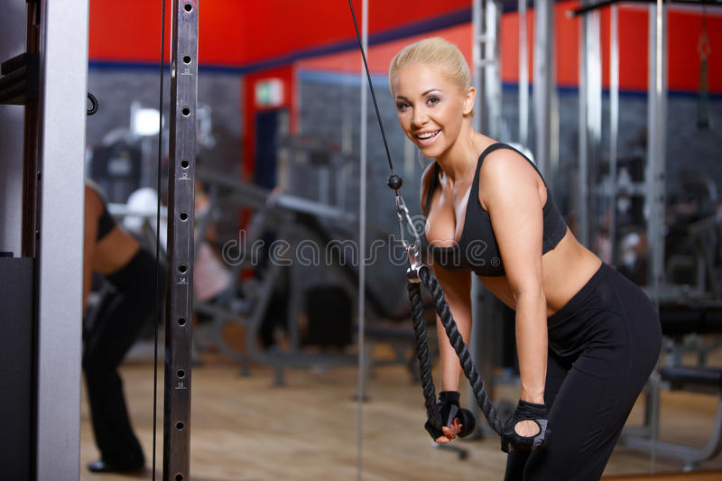 Download Woman at the gym stock photo. Image of smile, sport, tracksuit - 14855378