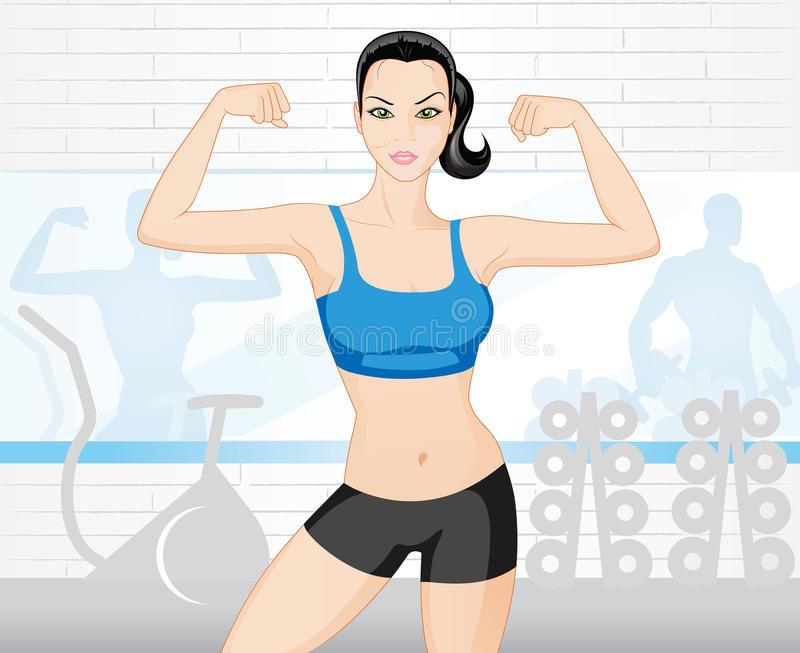 Woman in the gym vector illustration