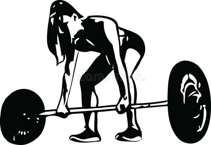 Woman at gym, abstract lines drawing vector illustration