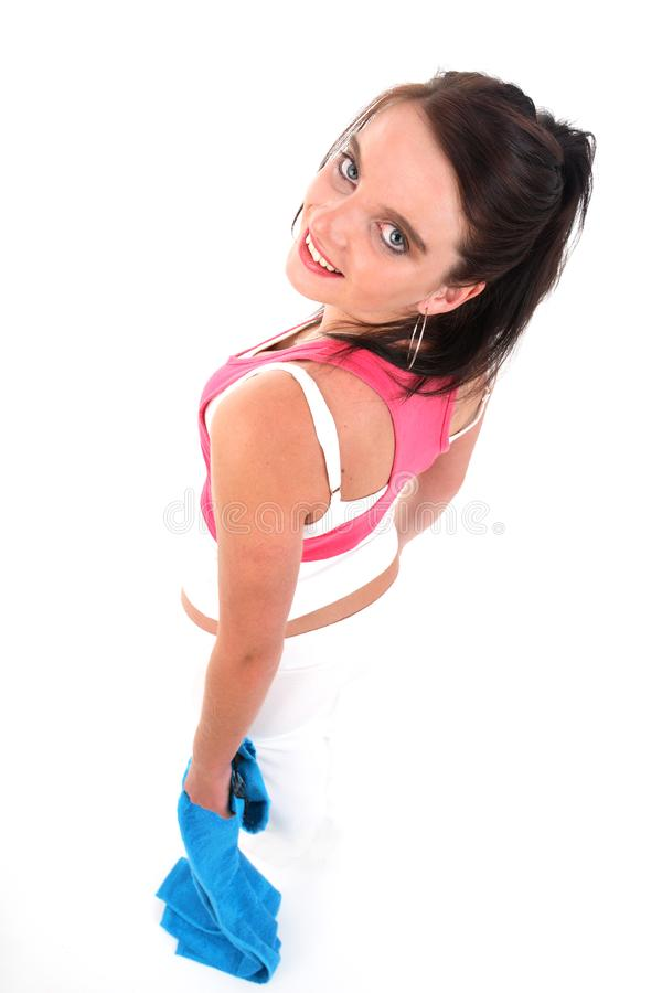 Woman in gym outfit exercising stock images