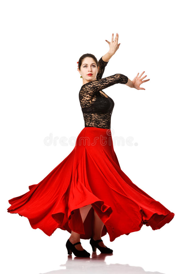 Woman gypsy flamenco dancer. Isolated royalty free stock image