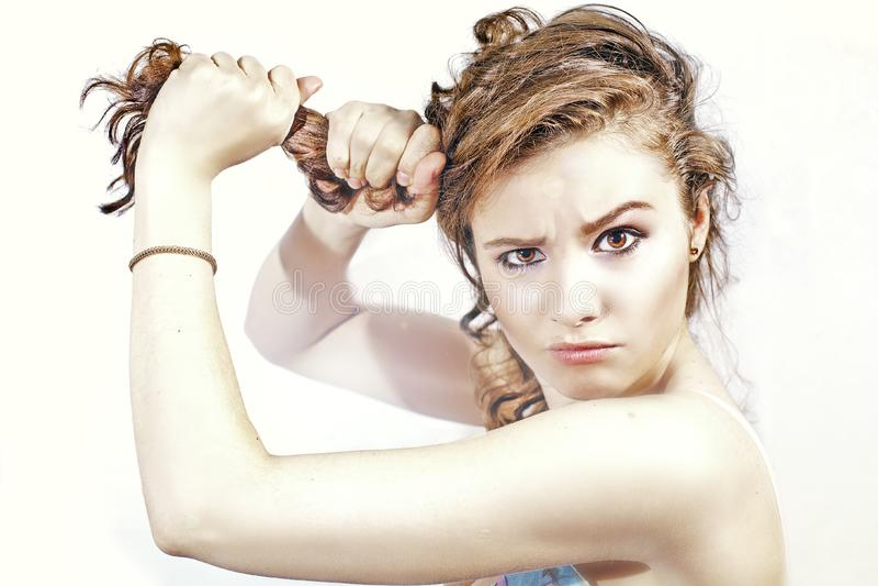 Woman and hair stock photos