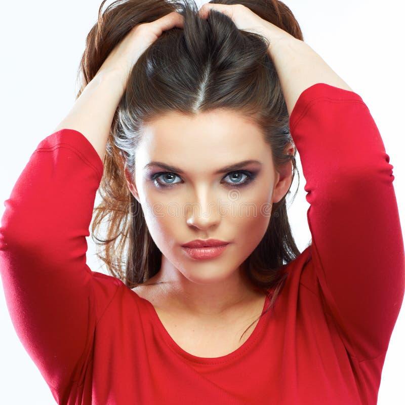 Woman hair beauty portrait. Beautiful girl isolated on white ba stock photo