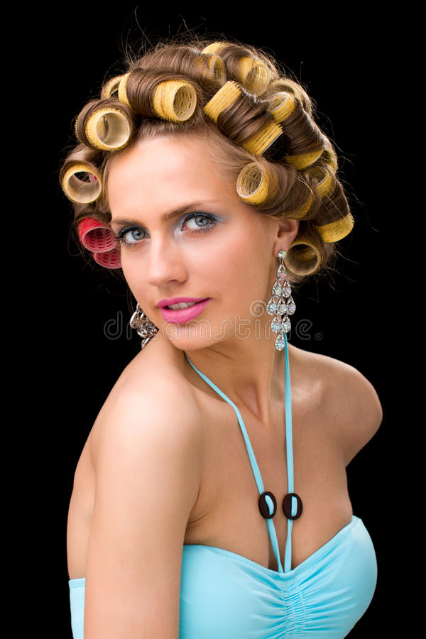 Download Woman with hair curlers stock photo. Image of isolated - 28107872