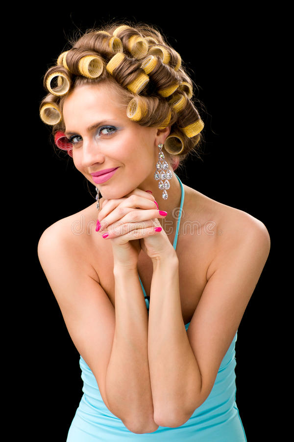 Download Woman with hair curlers stock photo. Image of hairstyling - 28107924