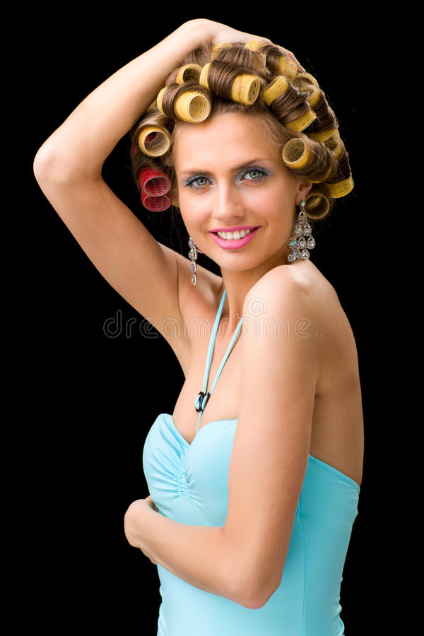 Download Woman With Hair Curlers Stock Photos - Image: 28107933