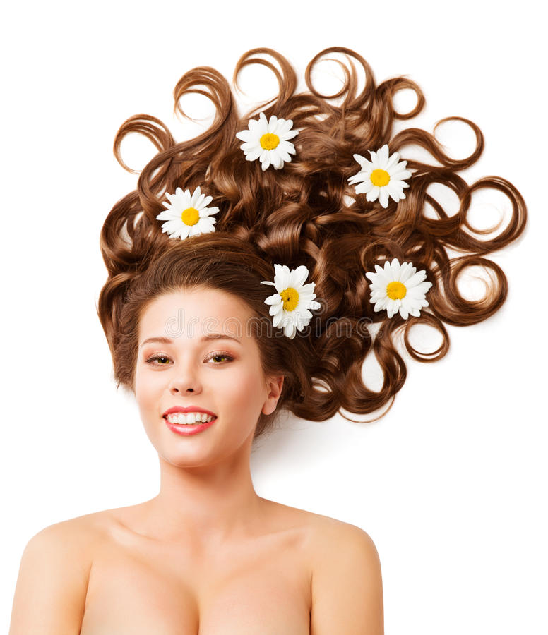 Woman Hair Flowers, Fashion Curly Hairstyle, White Color Daisies stock photos