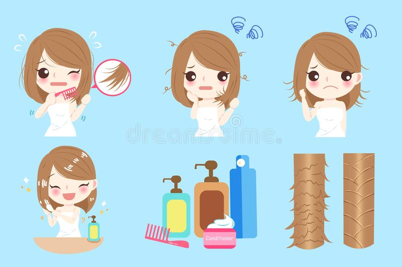 Woman with hair problem vector illustration