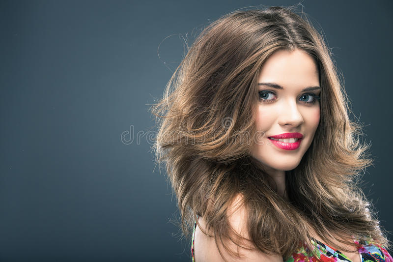 Woman hair style. Fashion portrait . isolated. make up female face royalty free stock images