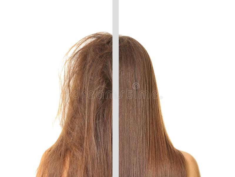 Woman before and after hair treatment royalty free stock photos