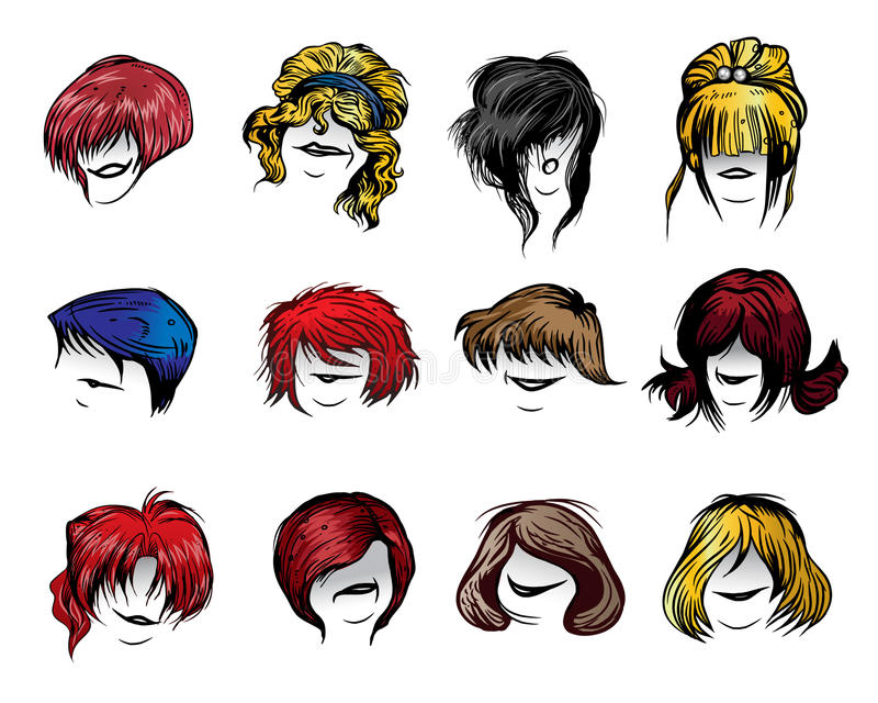 Woman haircut styles. Set of Woman haircut styles isolated on white background stock illustration