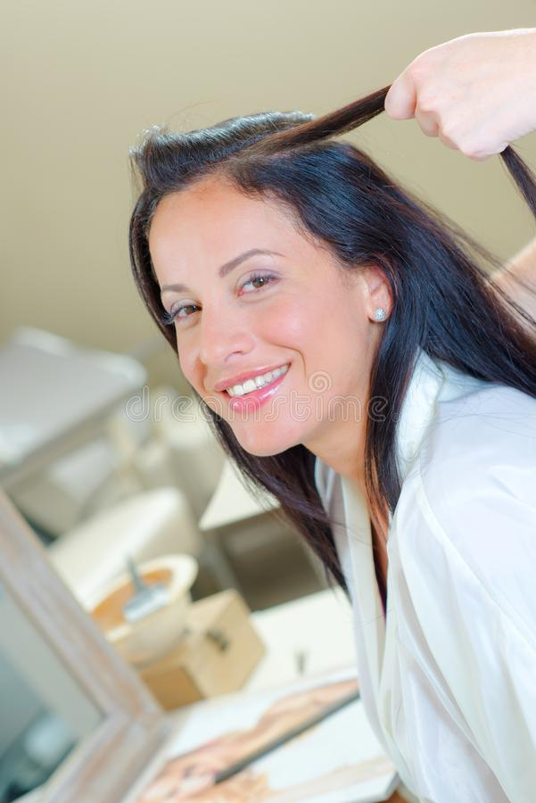 Woman at the hairdresser. Woman royalty free stock photo