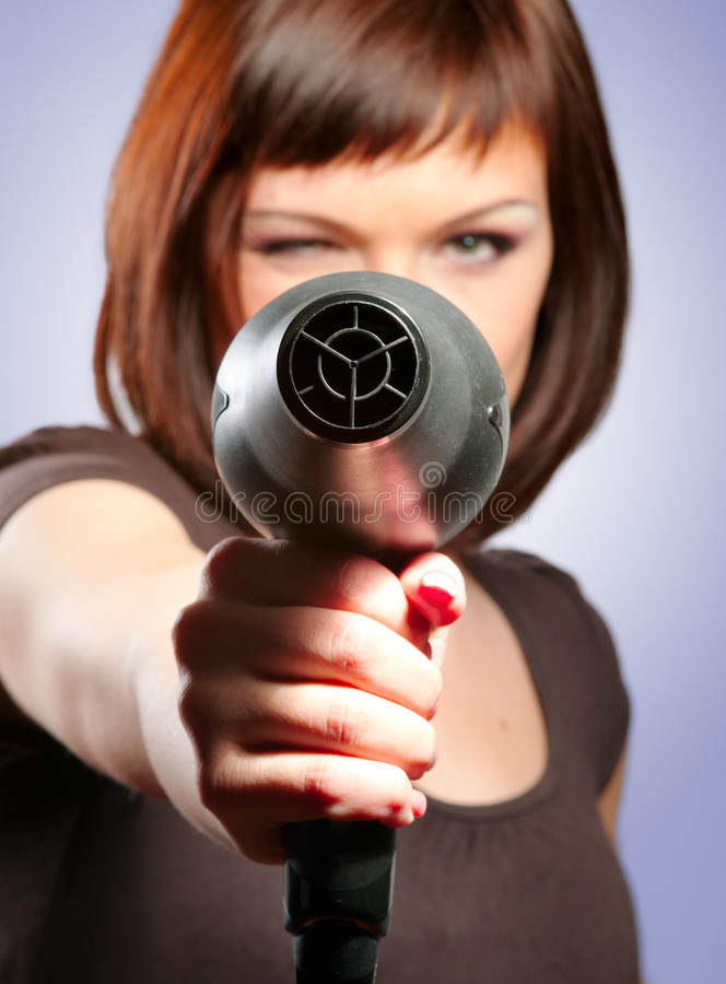 Download Woman With Hairdryer Royalty Free Stock Images - Image: 23439509