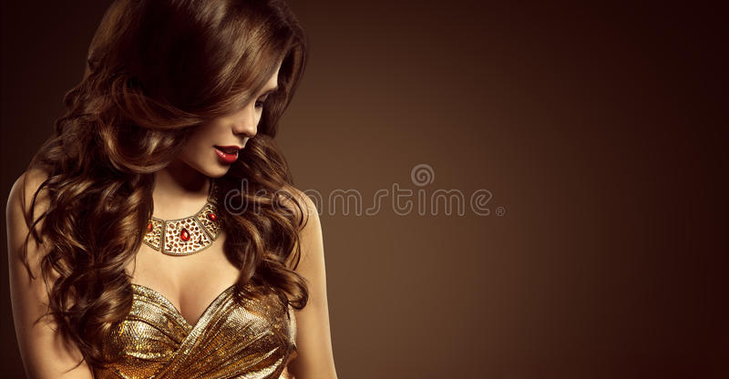 Woman Hairstyle, Beautiful Fashion Model Long Brown Hair Style royalty free stock image